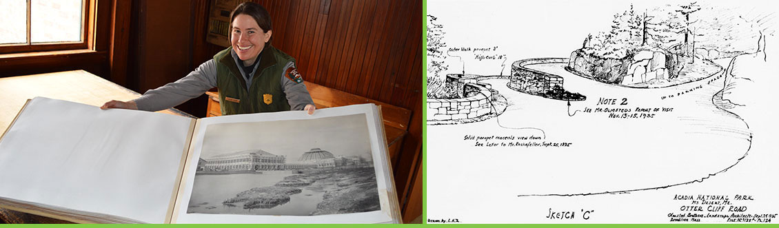 Left: Park ranger with World's Columbian Exposition photo album. NPS photo. Right: Otter Creek grade separation, Acadia National Park. Plan 9138A-124-sh2. Courtesy NPS, Frederick Law Olmsted National Historic Site.