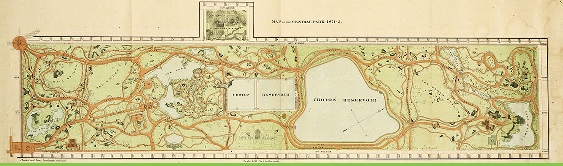 Map of Central Park, 1871. Olmsted & Vaux Landscape Architects. Plan #502-8. Courtesy NPS, Frederick Law Olmsted National Historic Site.